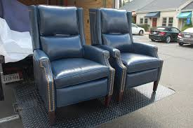 Navy Blue Leather Club Chair H U0026m 1053 Greyson Recliners In Tiburon Navy