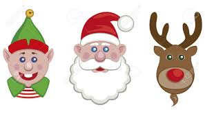 portraits of santa helper elf and reindeer isolated royalty free
