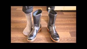 mens high heel motorcycle boots clarks norton brass black leather unboxing and try on youtube