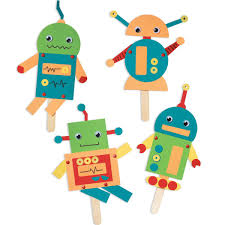 robots kit via paper source cute paper robot puppets with tiny