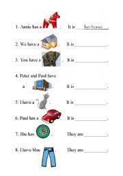best ideas of possessive pronouns worksheets for kindergarten on