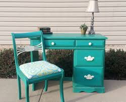 Shabby Chic Blue Paint by Shabby Chic Teal Desk U0026 Antique Chair In Annie Sloan Chalk Paint
