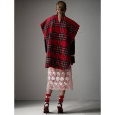 Tartan Reversible Tartan Wool Cashmere Poncho In Bright Red Dark Grey