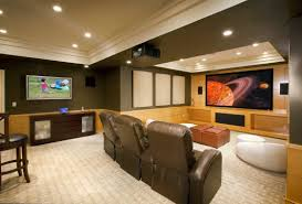 comfortable small basement idea for the home theater having brown