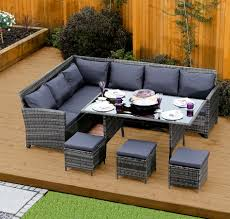 Outdoor Rattan Corner Sofa 9 Seater Rattan Corner Garden Sofa U0026 Dining Table Set In Dark
