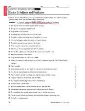 review b subjects and predicates 8th 9th grade worksheet