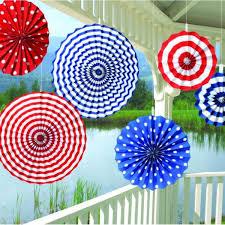 paper decorations paper fan set of blue 6 pcs set
