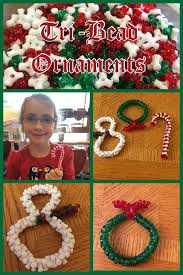 bead ornaments are easy for kids to make with tri beads and pipe