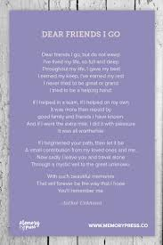 dear friends i go a collection of non religious funeral poems