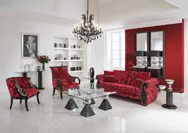 pretty living room casual furniture with red sofa red accent