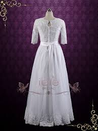 vintage modest lace wedding dress with half sleeves brianne