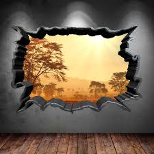 3d Bedroom Wall Paintings Cracked Hole Safari Home 3d Full Colour Wall Sticker Decal Sunset