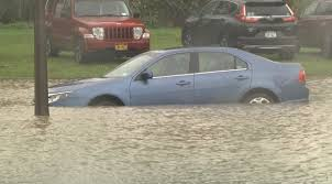 flood swallows up cars at veterinary clinic