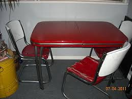 Vintage Red Chrome Metal Table Chair Dinning Kitchen Arvin - Vintage metal kitchen table