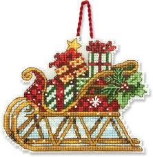 dimensions sleigh ornament cross stitch kit 70 08914
