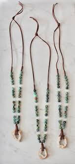 leather necklace with beads images Quartz geode leather necklace with chrysoprase beads k jpeg