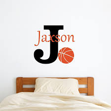 amazon com wall stickers handmade products custom name basketball wall decal boys girls personalized name basketball sports wall sticker custom name sign custom name stencil monogram boys