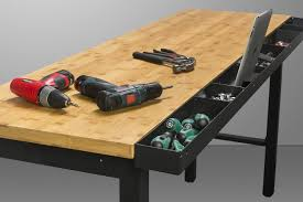newage products workbench with bamboo top and power bar 72