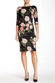 nordstrom rack wedding dresses donna 3 4 length sleeve floral scuba midi dress