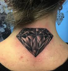 black and grey diamond tattoo at neck tattoo designs kmxwtattoo