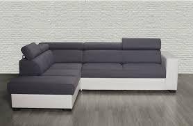 canape d angle gauche canapé d angle gauche auxane convertible avec têtières gris et blanc