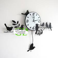 Personalized Anniversary Clock Unique Birds Hanging Big Modern Wall Clock Anniversary Gift On