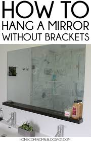 Frameless Bathroom Mirror Large Home Coming How To Install A Bathroom Mirror Without Brackets For