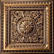milan antique gold faux metal ceiling tiles