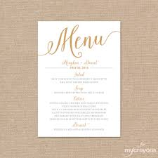 wedding menu cards gold wedding menu card printable wedding menu script