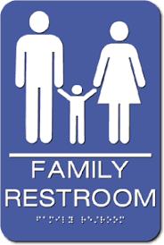 Bathroom Symbols Family Unisex Ada Bathroom Sign 6
