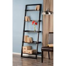 Bookcase Black Wood Leaning Wall 5 Shelf Bookcase Black Walmart Com