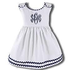 rick rack trim garden princess pique rick rack dress in white with navy trim