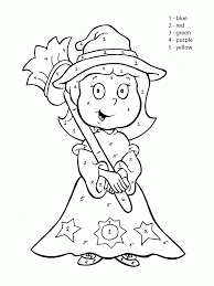color by number cute witch coloring page for kids education