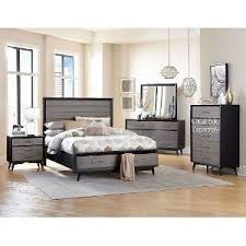 Gray  Black Contemporary  Piece California King Bedroom Set - Rc willey king bedroom sets