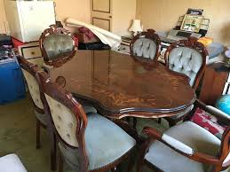 italian style inlaid dining table with 6 chairs in canvey island