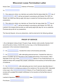 Notice Of Lease Termination By Landlord by Free Wisconsin 28 Day Notice To Terminate Month To Month Tenancy Pdf