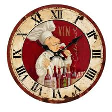chef home decor online shop retro vintage italian chef wood wall clock restaurant