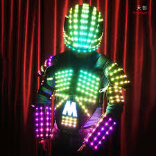 Lighted Halloween Costumes by Color Changing Sequins Fabric Entertainment Show Costume Light Up