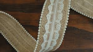 1 5 inch burlap lace ribbon with pearl trim pearl burlap ivory
