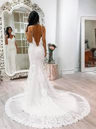 spaghetti wedding dress buy mermaid wedding dress spaghetti straps court backless