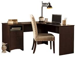 Small L Shaped Desk With Hutch Bush Buena Vista 60 L Shaped Desk In Cherry View Regarding