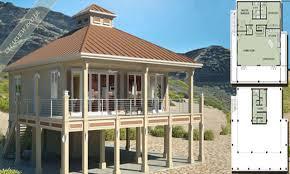 Small Beach House On Stilts | raised house plans beach on pilings elevated cottage floor