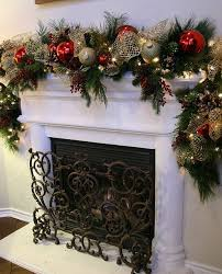 fireplace christmas garland 5 with red and silver balls founterior