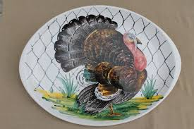 ceramic turkey platter vintage italian pottery turkey platter painted ceramic