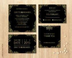 wedding invitation rsvp date wedding invitation set black and gold invitation square