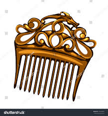 vintage hair combs golden vintage hair comb vector illustration stock vector