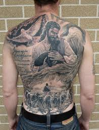 flying dove and jesus holding goat in christianity on