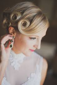 pin curl retro 1920s 1940s vintage side part pin curl updo hairstyle