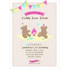 bear picnic printable birthday party invitation