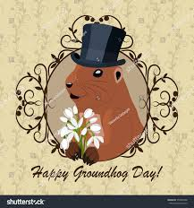 groundhog day cards groundhog day greeting card marmot stock vector 555940858